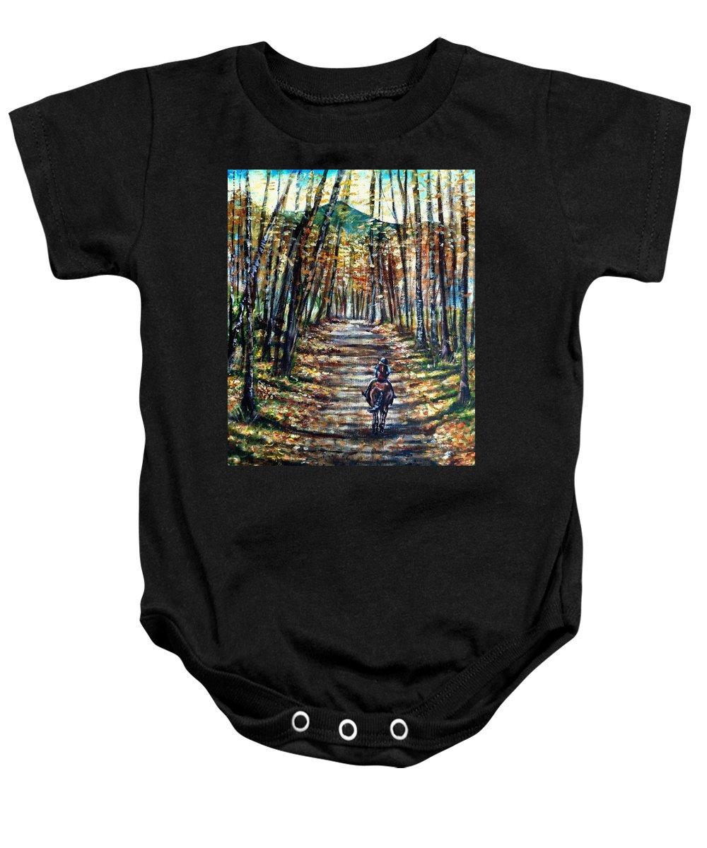 Horse Baby Onesie featuring the painting Fall Ride by Shana Rowe Jackson