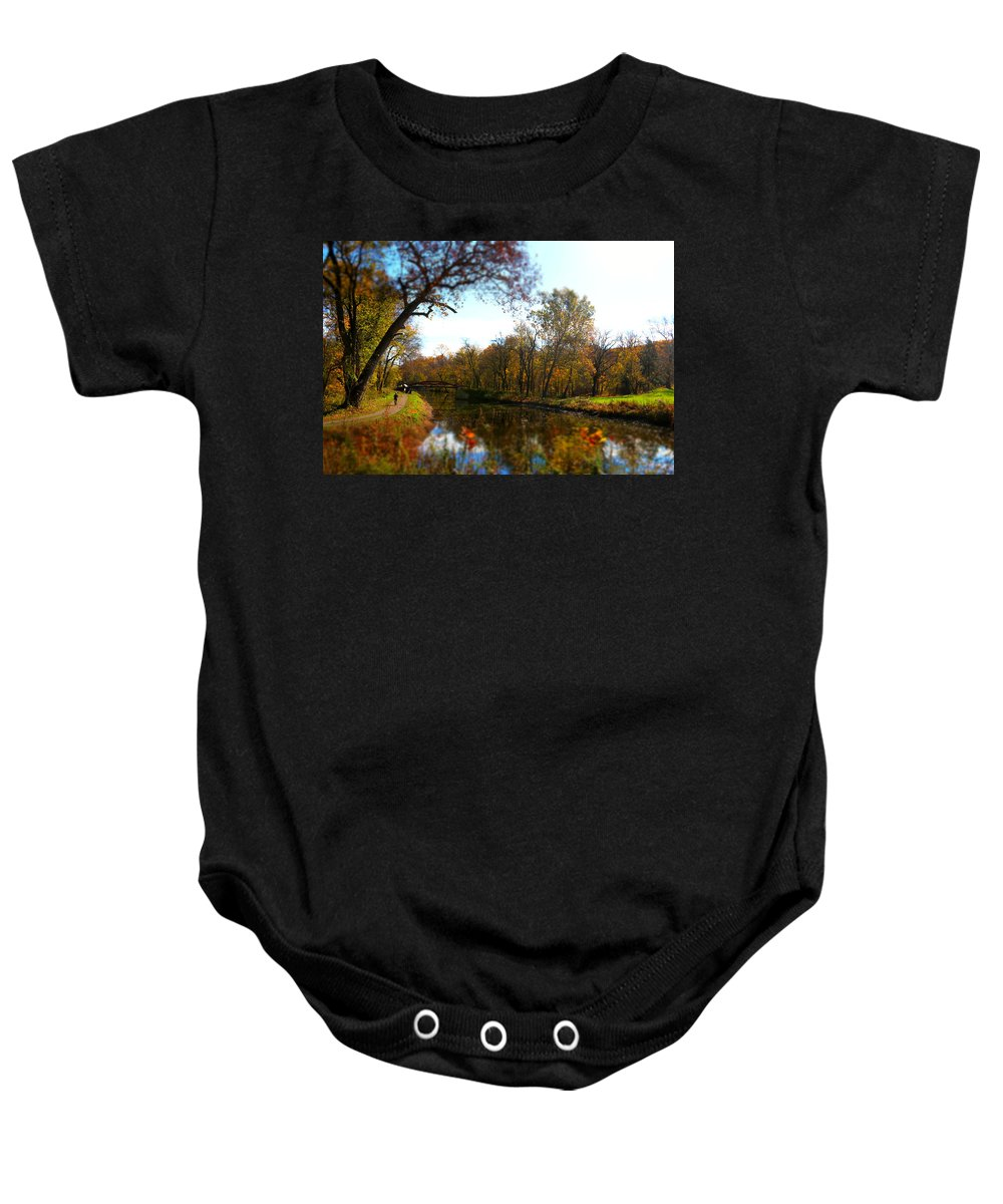 Fall Baby Onesie featuring the photograph Fall Water Reflections by Alice Gipson