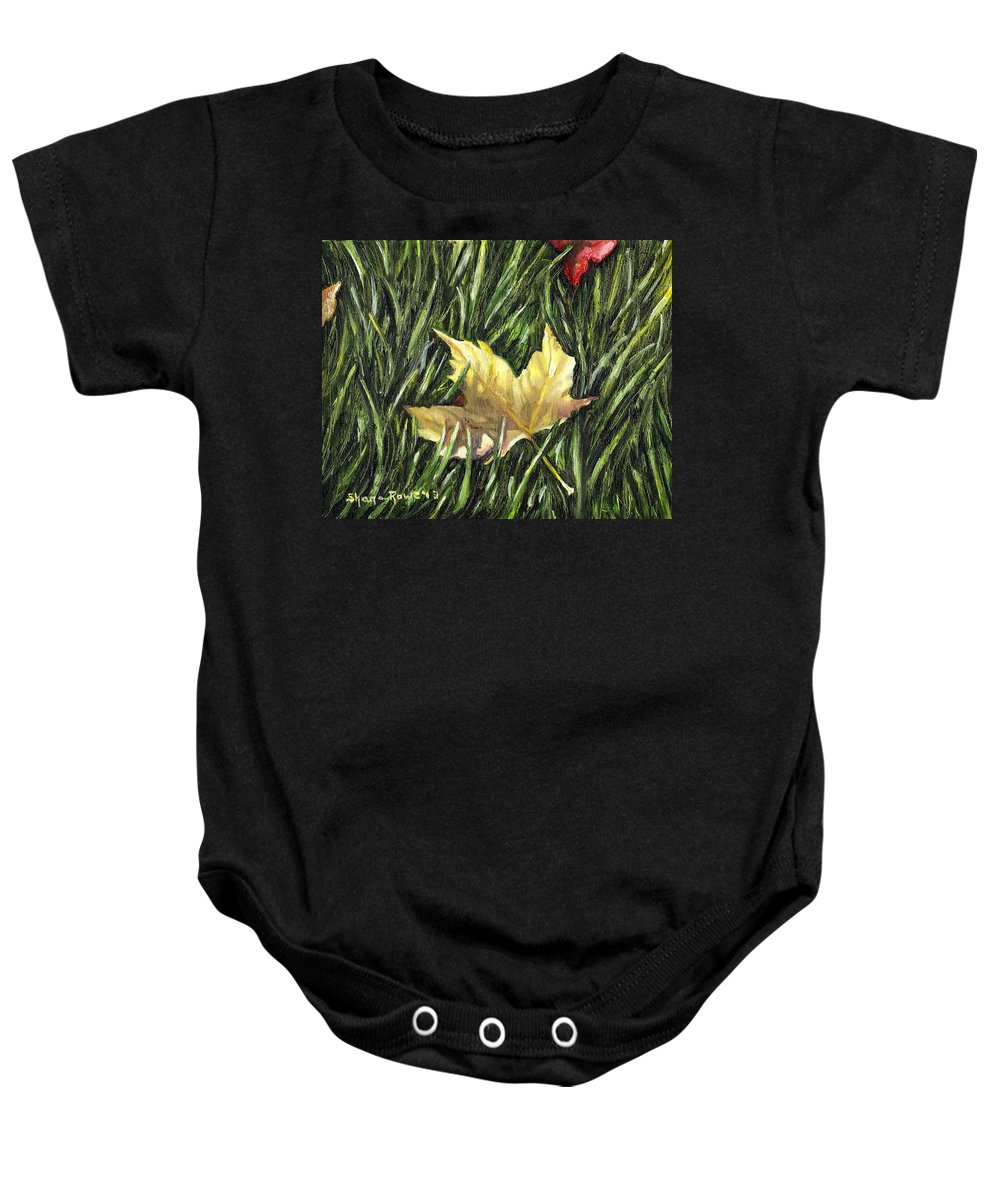 Fall Baby Onesie featuring the painting Fallen From Grace by Shana Rowe Jackson