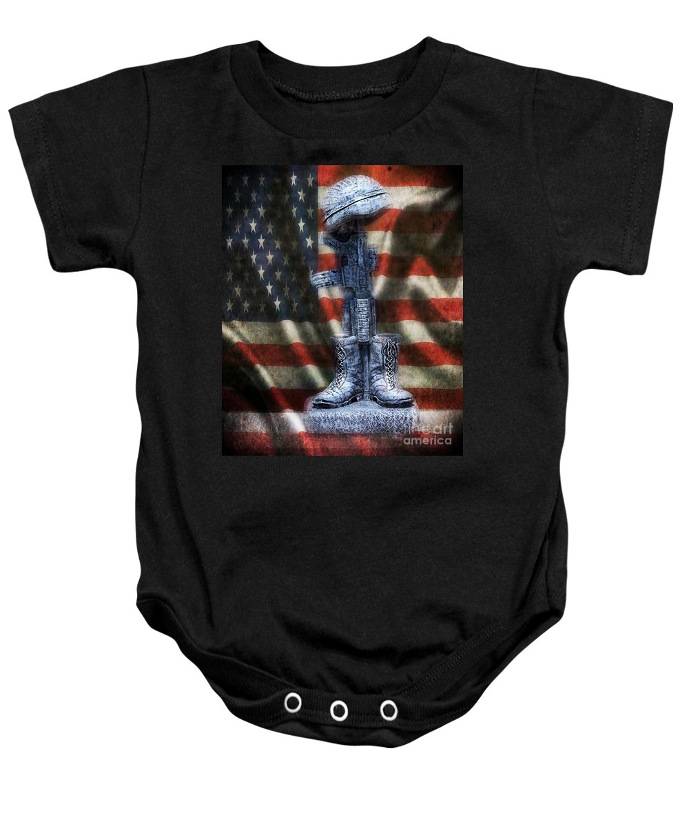 Military Fallen Soldiers Memorial Baby Onesie featuring the photograph Fallen Soldiers Memorial by Peggy Franz