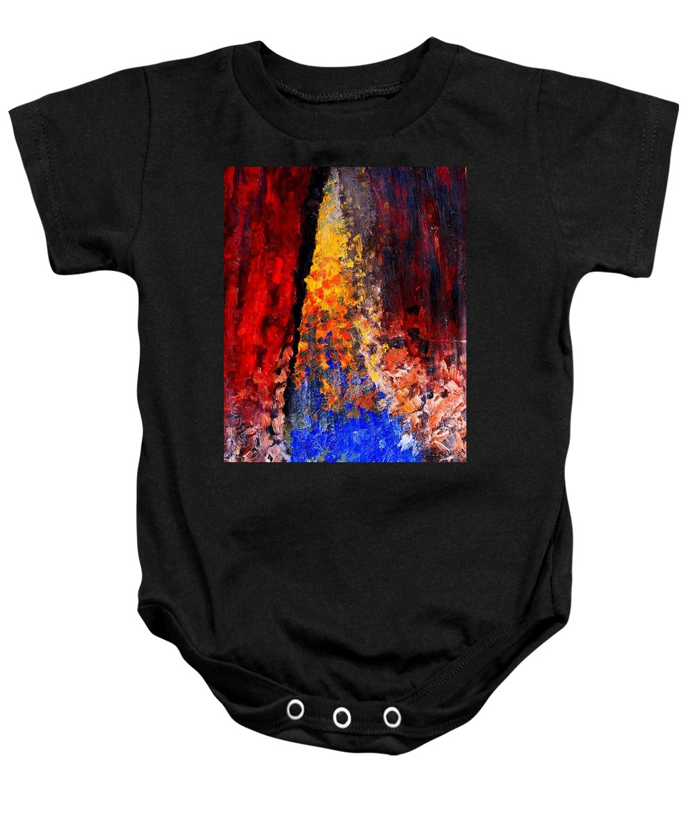 Abstract Baby Onesie featuring the painting Falling by Ian MacDonald