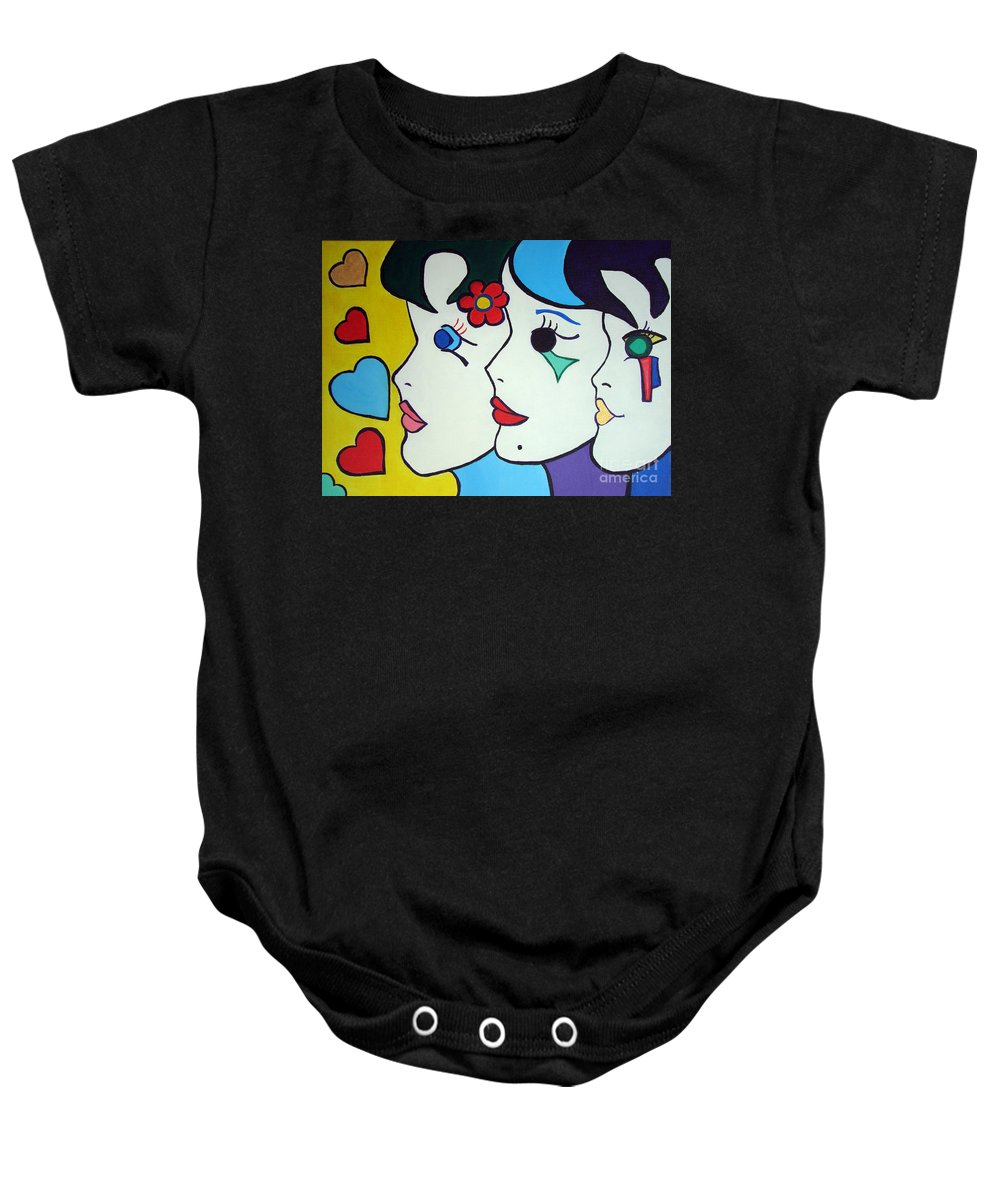 Pop-art Baby Onesie featuring the painting Falling In Love by Silvana Abel