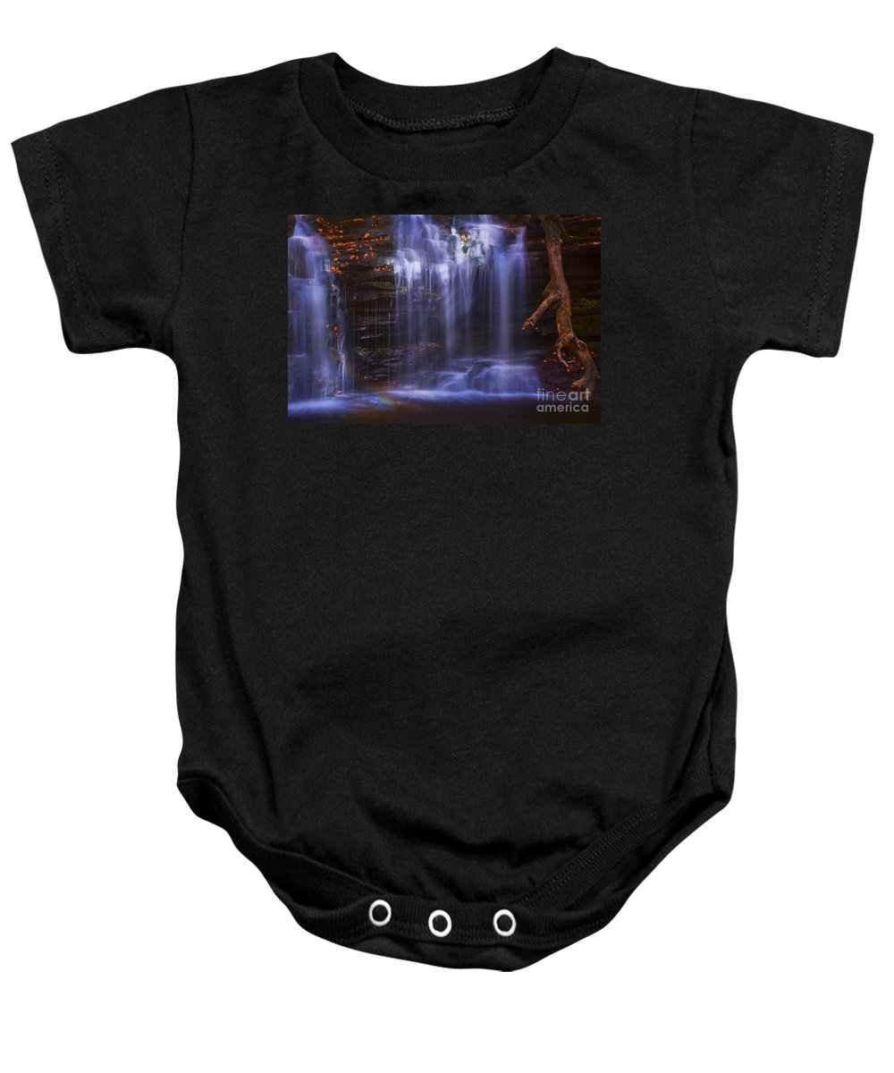 Ricketts Glen Baby Onesie featuring the photograph Falls And Log by Paul W Faust - Impressions of Light
