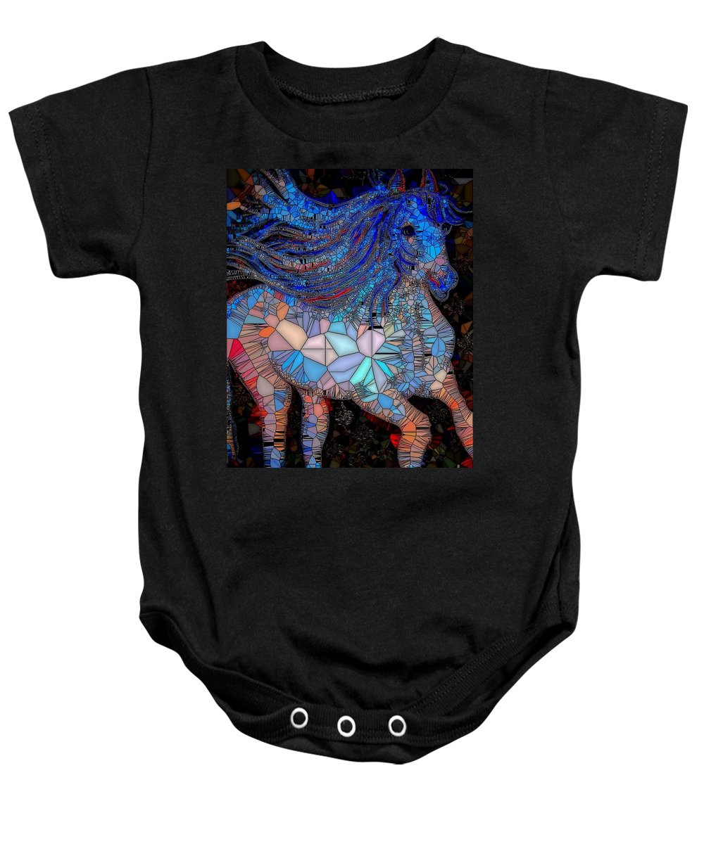 Horse Baby Onesie featuring the painting Fantasy Horse Mosaic Blue by Saundra Myles