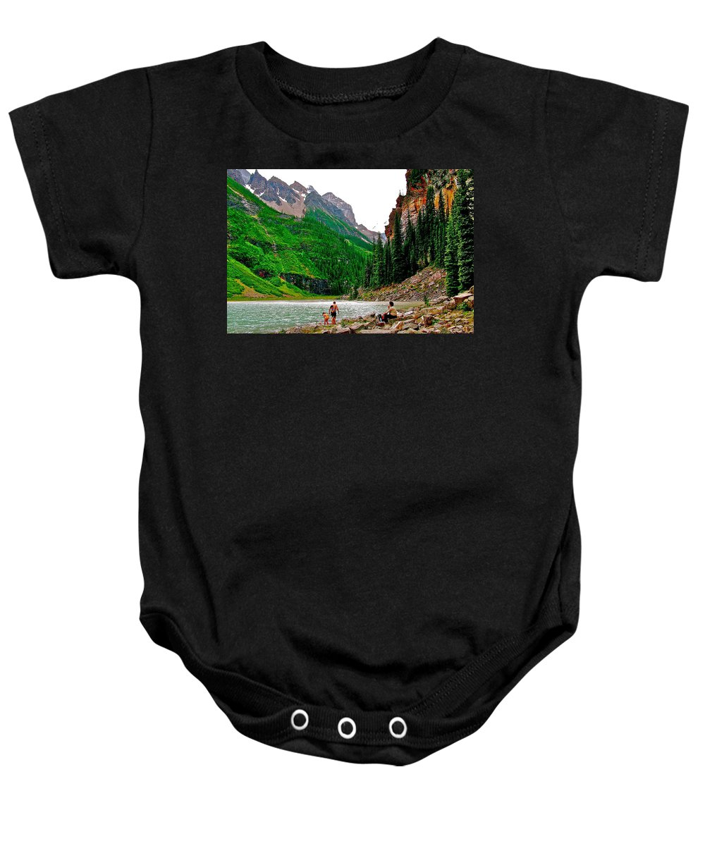 Far End Of Lake Louise In Banff National Park Baby Onesie featuring the photograph Far End Of Lake Louise In Banff Np-alberta by Ruth Hager