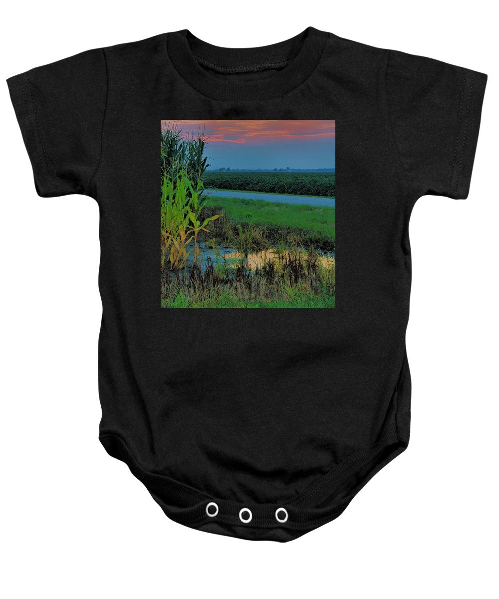 Sunset Baby Onesie featuring the photograph Farm Sunset by Dan Sproul