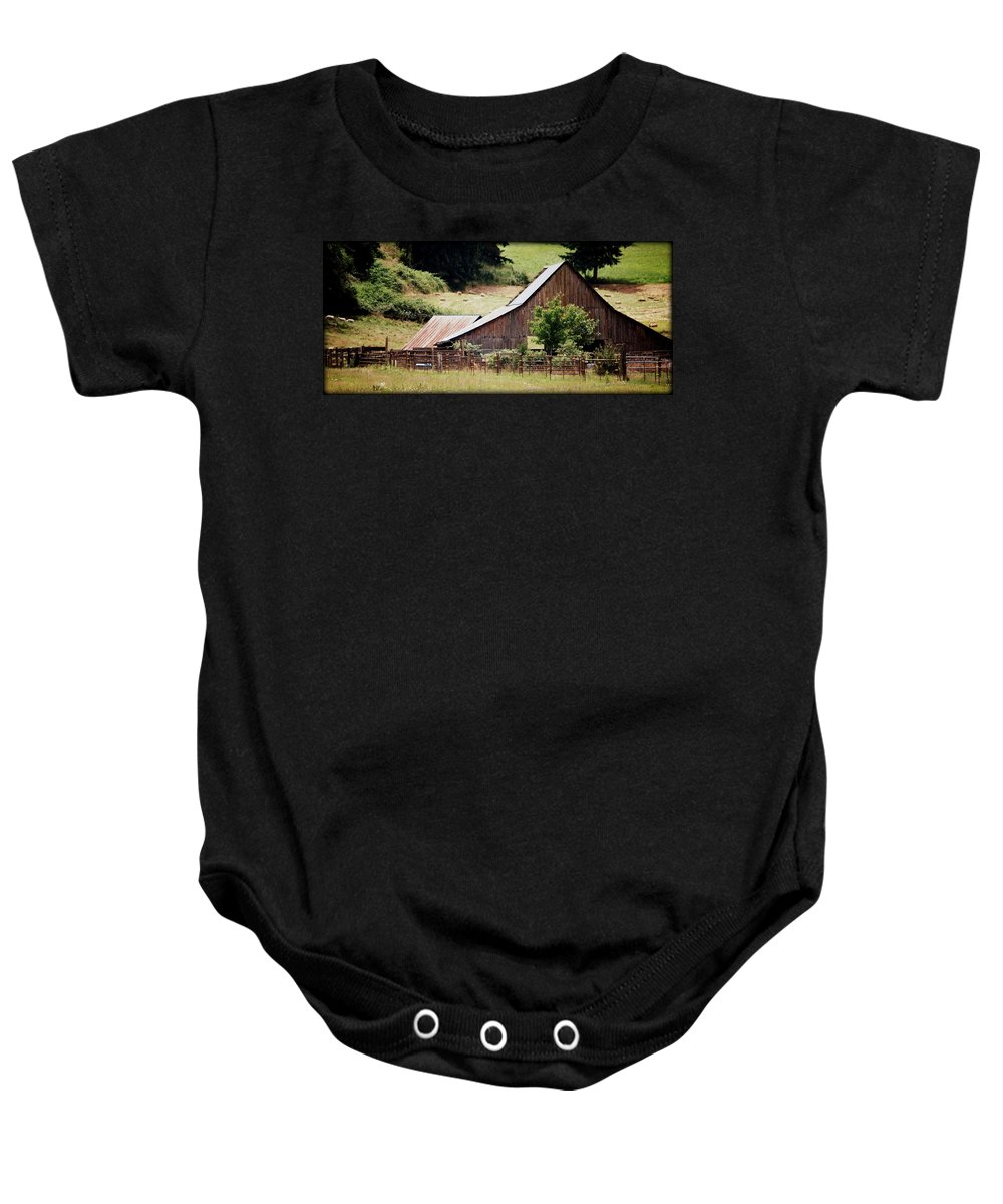 Barn Baby Onesie featuring the photograph Farming by Kathy Sampson