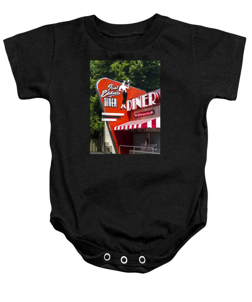 Diner Baby Onesie featuring the painting Fast Eddies Diner Art Deco Fifties by Edward Fielding
