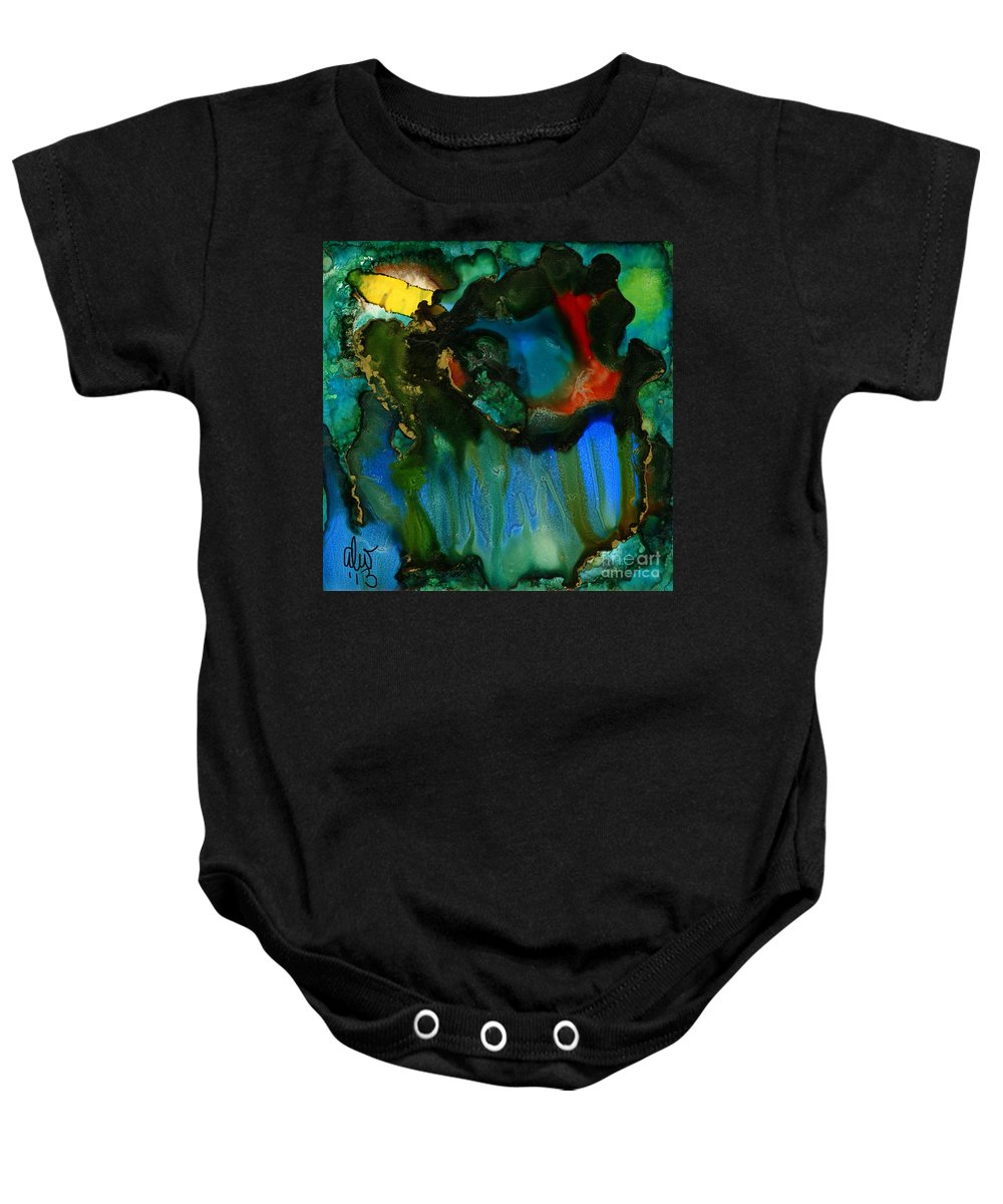 Ink Baby Onesie featuring the painting Feeling Violated And Blue by Angela L Walker