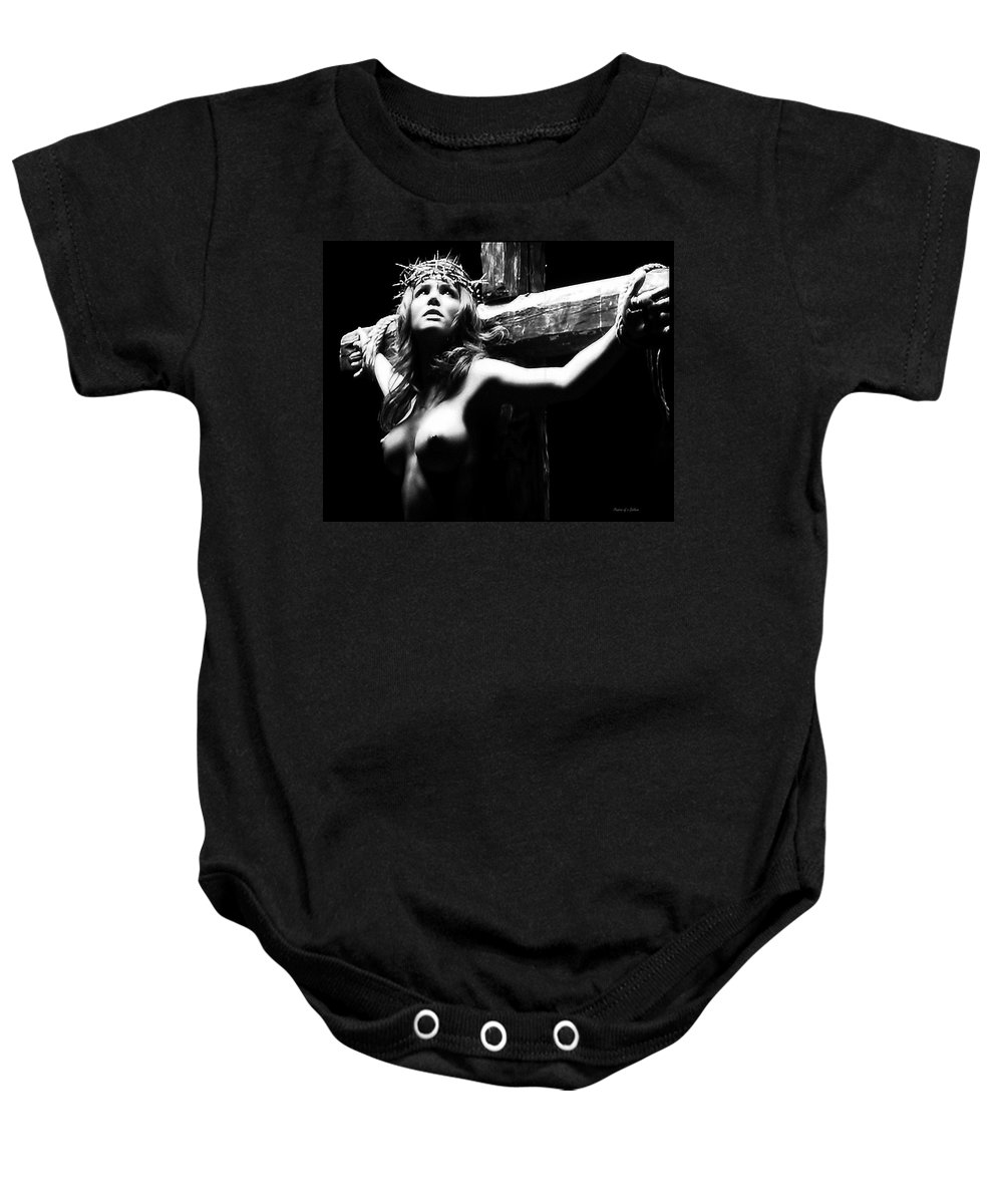 Female Christ Baby Onesie featuring the photograph Female Christ Black And White by Ramon Martinez