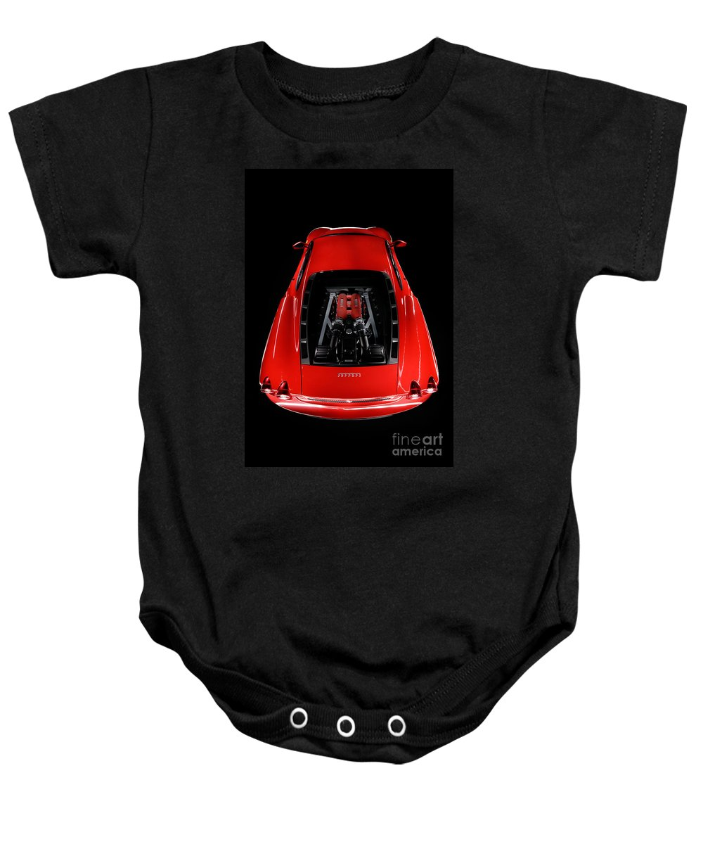 Red Baby Onesie featuring the photograph Ferrari F430 Engine by Frank Kletschkus
