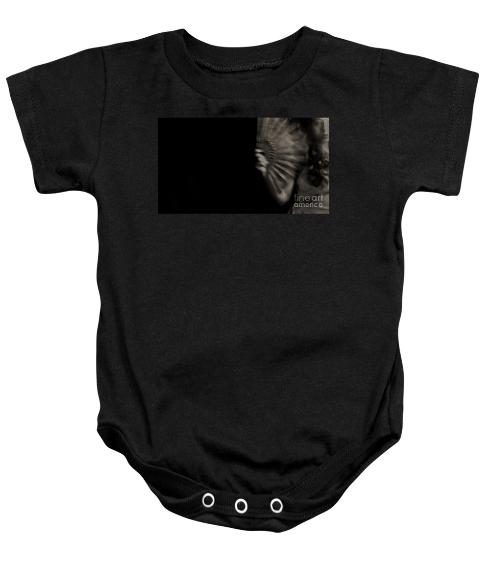 Sepia Baby Onesie featuring the photograph Feverish Conditions by Jessica Shelton