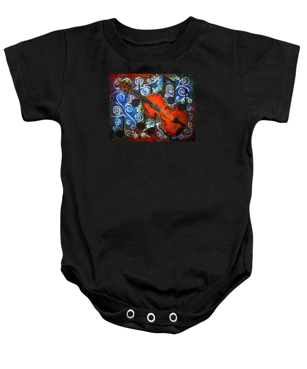 Fiddle Baby Onesie featuring the painting Fiddle - Violin by Sue Duda