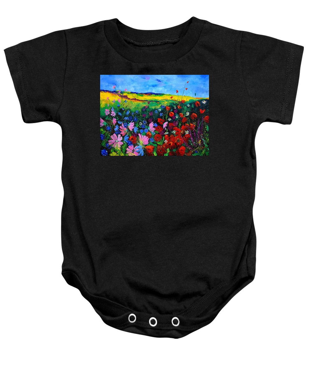 Poppies Baby Onesie featuring the painting Field Flowers by Pol Ledent
