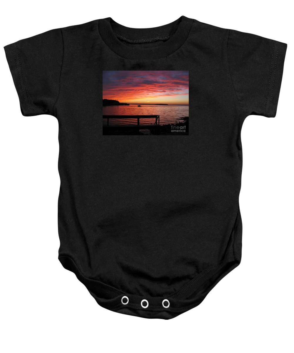 Sunset Baby Onesie featuring the photograph Fiery Afterglow by Ann Horn