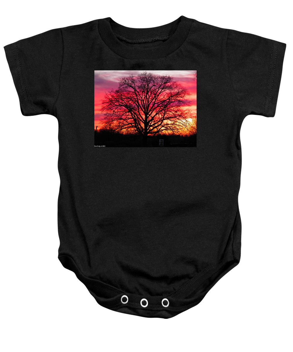 Oak Baby Onesie featuring the photograph Fiery Oak by Nick Kirby