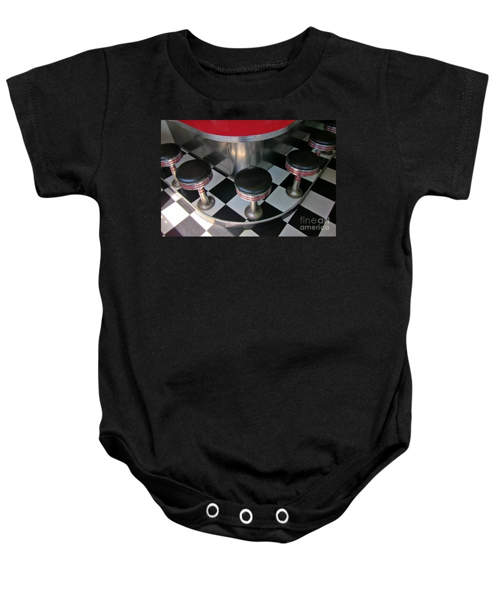 Diner Interior Photographs Baby Onesie featuring the photograph Fifties Diner Detail by John Malone