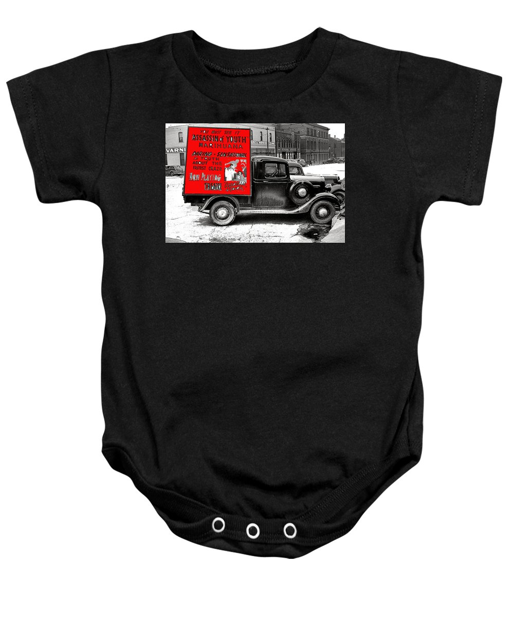 Film Homage Assassin Of Youth 1937 John Vachon Omaha Nebraska 1937 Baby Onesie featuring the photograph Film Homage Assassin Of Youth 1937 John Vachon Omaha Nebraska 1937-2010 by David Lee Gusso i
