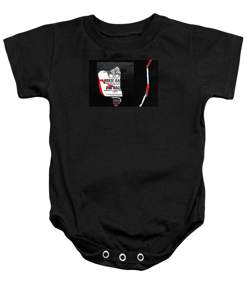 Film Noir Jim Thompson The Grifters 1990 2 Horse Dog Tracks Sign Juarez Chihuahua Mexico 1977 Baby Onesie featuring the photograph Film Noir Jim Thompson The Grifters 1990 2 Horse Dog Tracks Sign Juarez 1977 by David Lee Guss