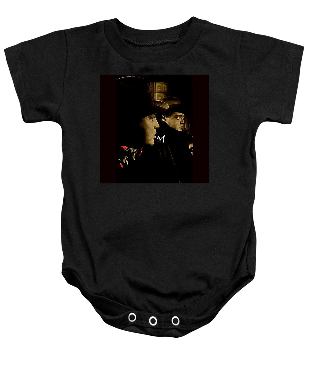 Film Noir Peter Lorre Fritz Lang M 1931 3 Publicity Still Toned Color Added 2008 Baby Onesie featuring the photograph Film Noir Peter Lorre Fritz Lang M 1931 3 Publicity Still Toned Color Added 2008 by David Lee Guss