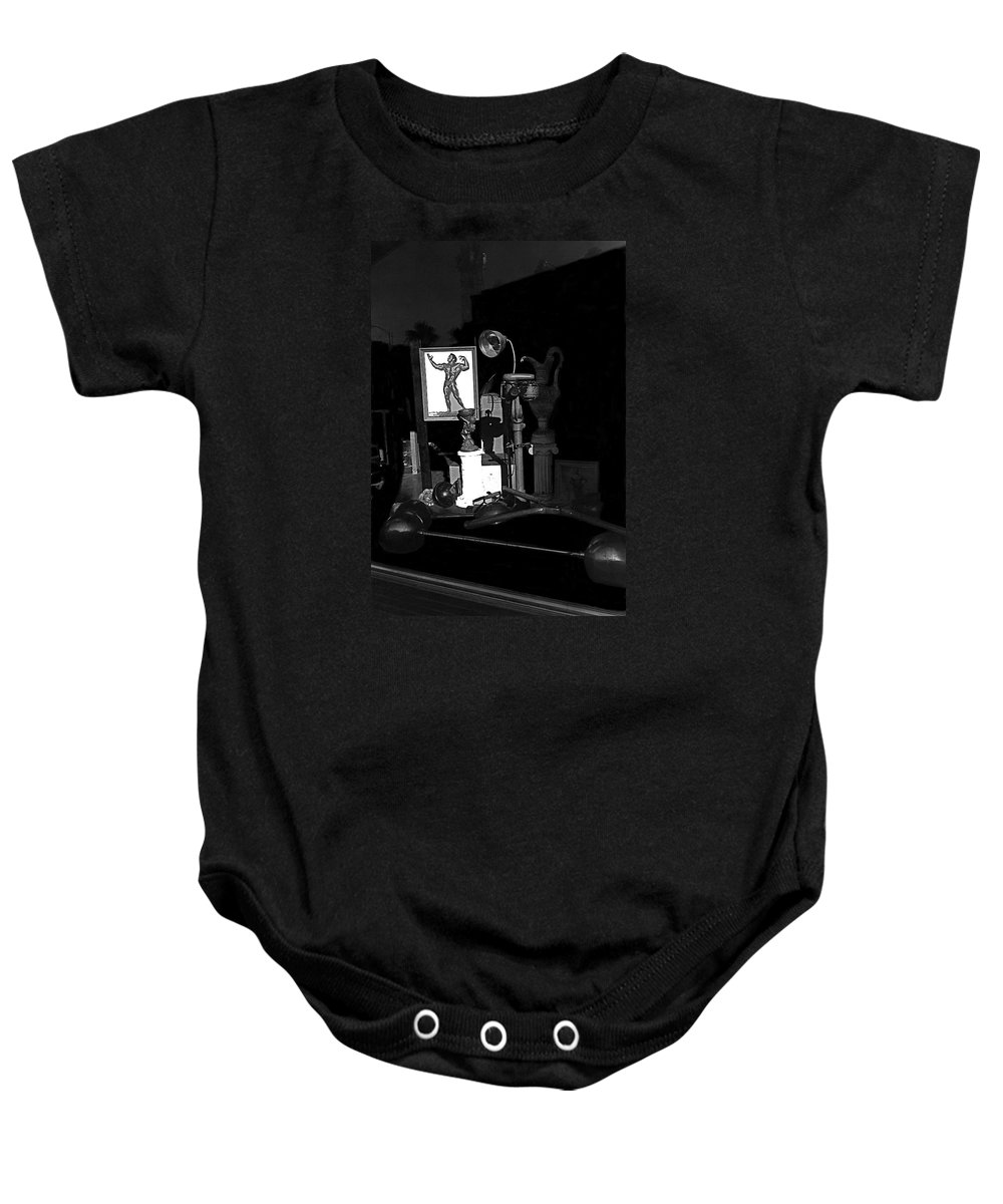 Film Noir Richard Widmark Night And The City 1950 1 Johnny Gibson Health & Gym Equipment Tucson Arizona 1982-2008 Baby Onesie featuring the photograph Film Noir Richard Widmark Night And The City 1950 1 Johnny Gibson Health And Gym Equipment Tucson by David Lee Guss