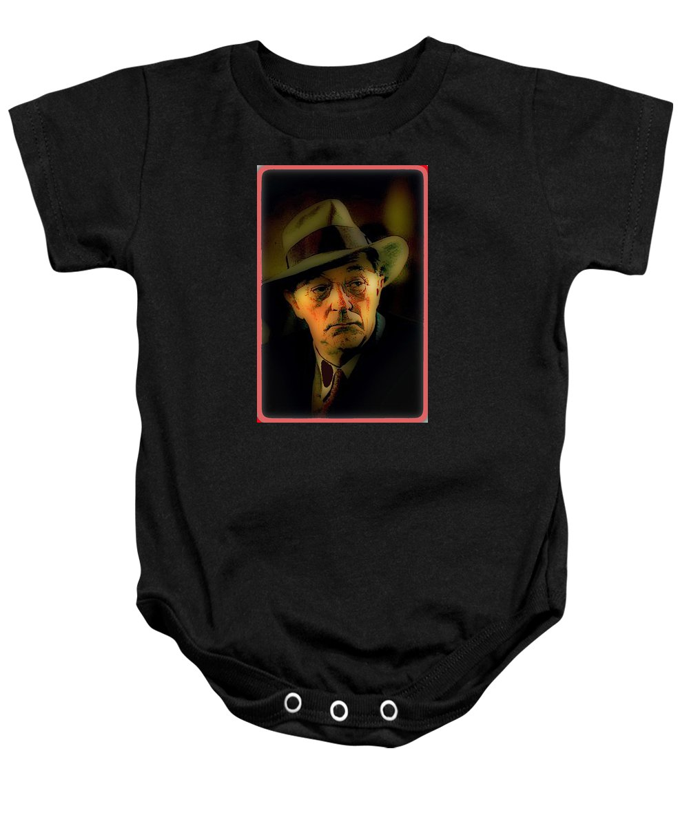 Film Noir Robert Mitchum Philip Marlowe Farewell My Lovely 1975 Publicity Photo Color Added 2013 Baby Onesie featuring the photograph Film Noir Robert Mitchum Philip Marlowe Farewell My Lovely 1975 Publicity Photo Color Added 2013 by David Lee Guss