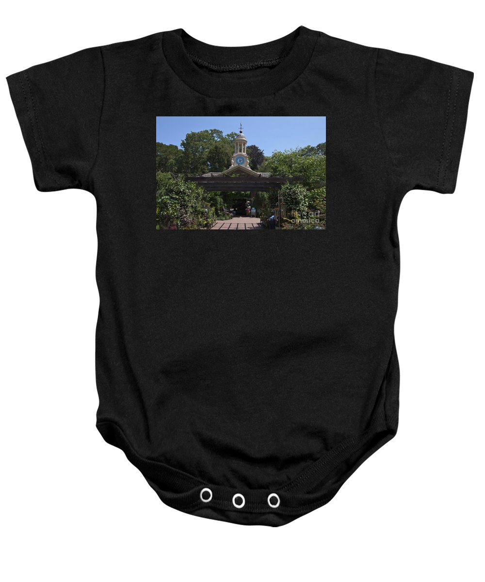 Filoli Baby Onesie featuring the photograph Filoli Clock Tower Garden Shop by Jason O Watson