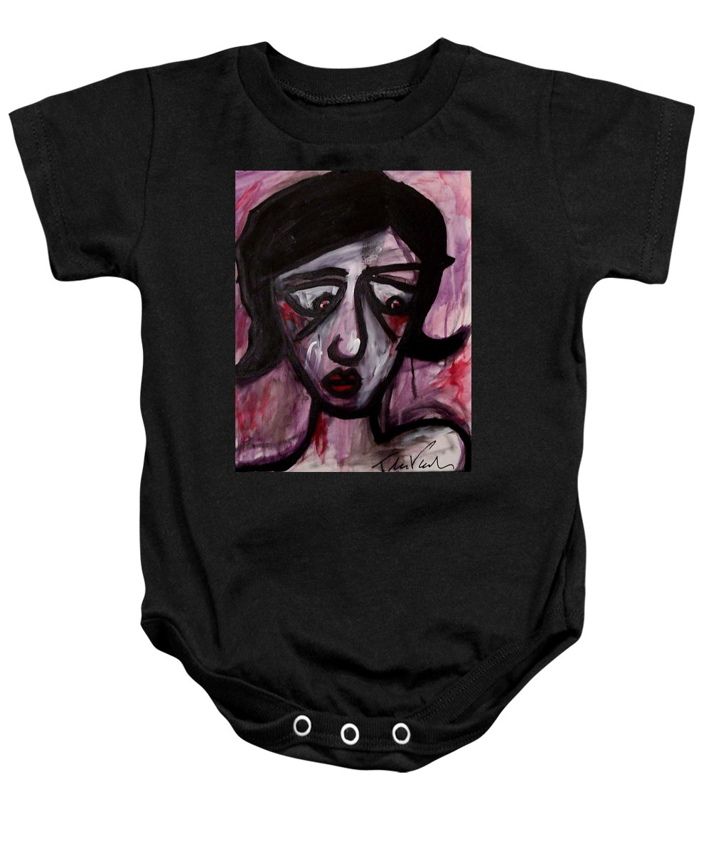 Portait Baby Onesie featuring the painting Finals by Thomas Valentine