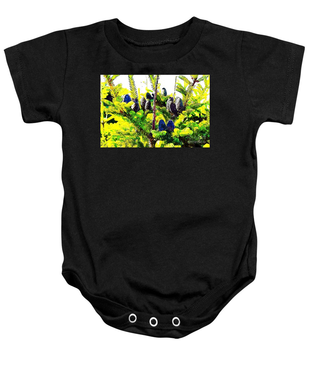 Fir Tree Buds Abstract Baby Onesie featuring the photograph Fir Tree Buds Abstract by Barbara Griffin