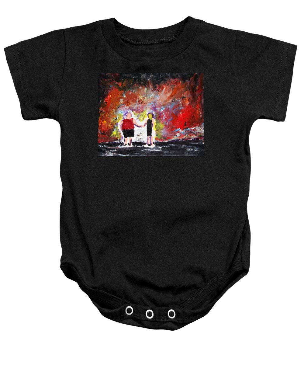 Sky Baby Onesie featuring the painting Fire In The Sky by J Nell Bliss