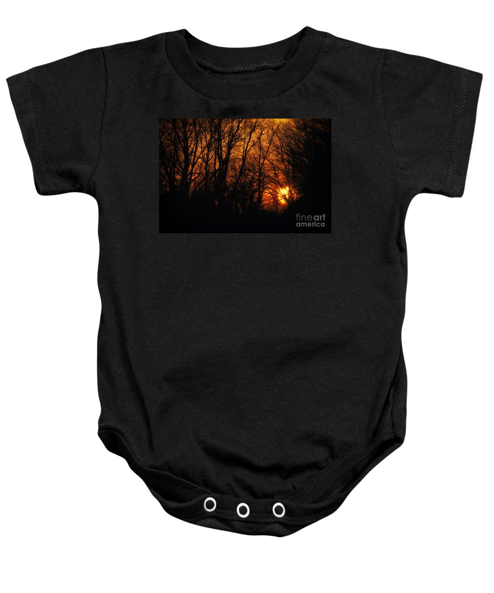 Sun Baby Onesie featuring the photograph Fire In The Woods Sunset by Thomas Woolworth