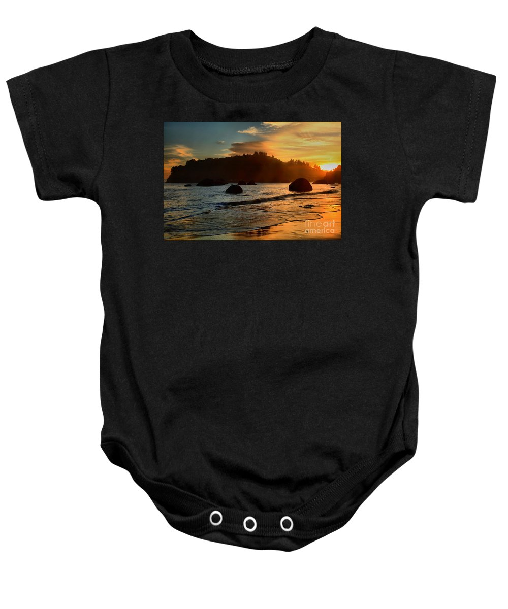 Trinidad State Beach Baby Onesie featuring the photograph Fire Over Trinidad Beach by Adam Jewell