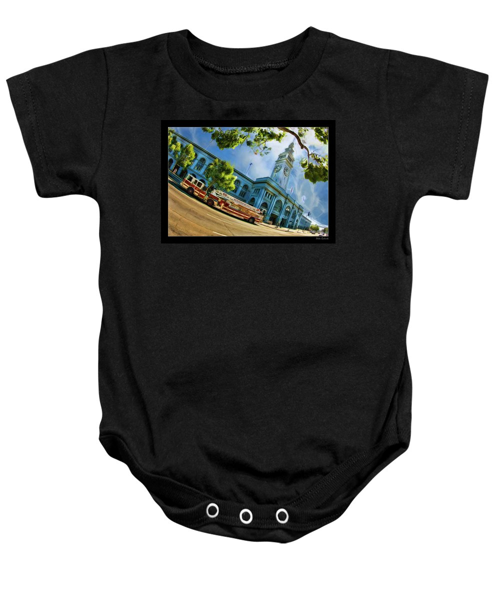 Ferry Building Baby Onesie featuring the photograph Fire Truck And Ferry Building by Blake Richards
