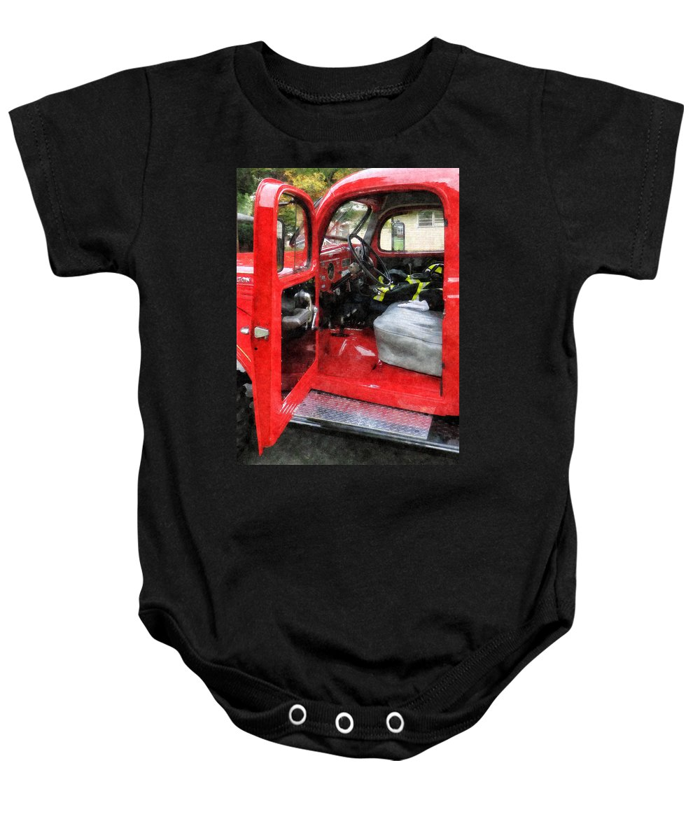 Firefighters Baby Onesie featuring the photograph Fireman - Fire Truck With Fireman's Uniform by Susan Savad