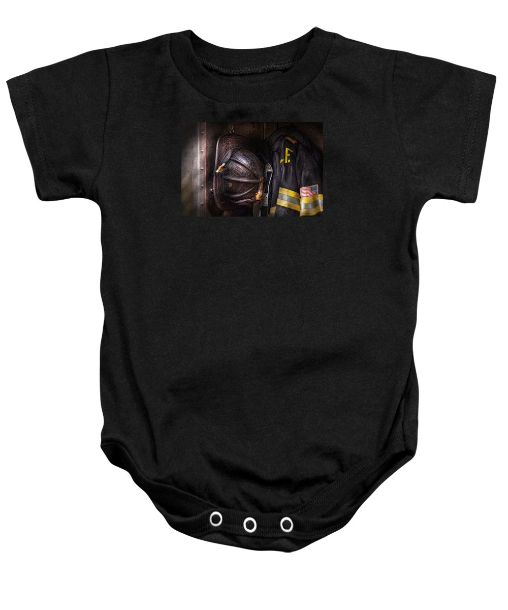 Fireman Baby Onesie featuring the photograph Fireman - Worn And Used by Mike Savad