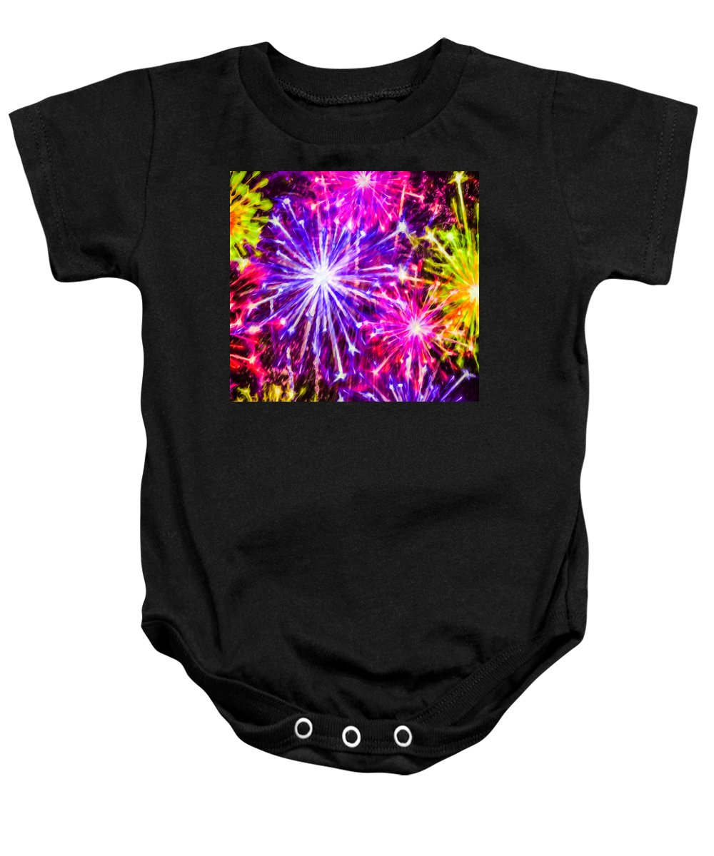 Fireworks At Night Baby Onesie featuring the painting Fireworks At Night 7 by Jeelan Clark