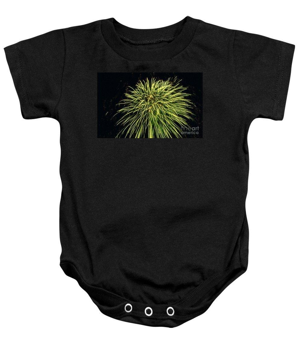 Fireworks At Night Baby Onesie featuring the painting Fireworks At Night 8 by Jeelan Clark