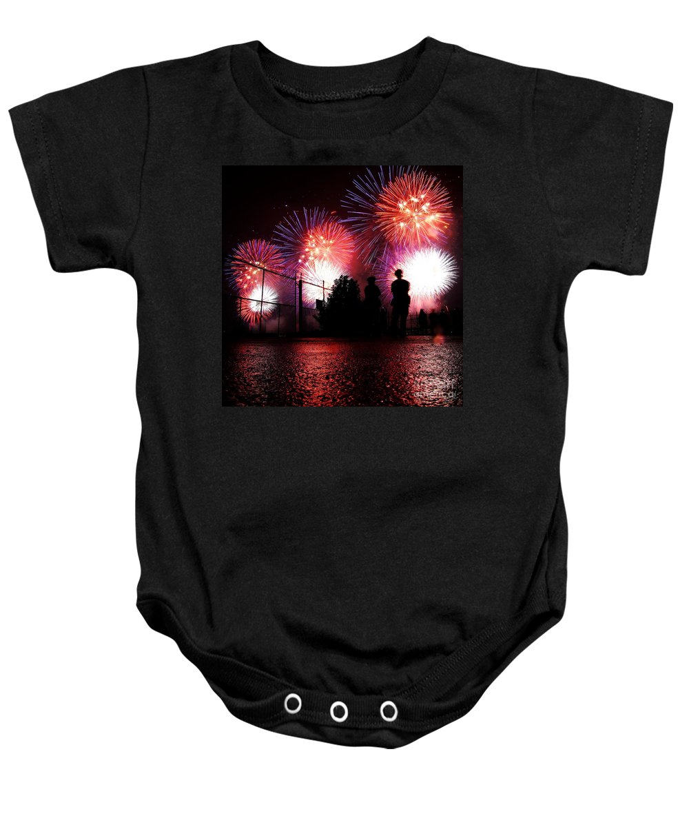 July 4th Fireworks Baby Onesie featuring the photograph Fireworks by Nishanth Gopinathan