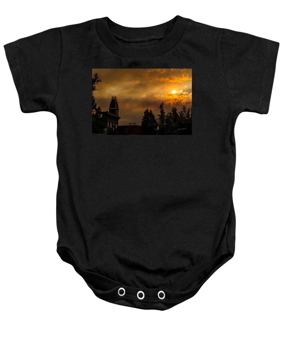 Sunset Baby Onesie featuring the photograph Firey Sunset Over Grants Pass by Mick Anderson