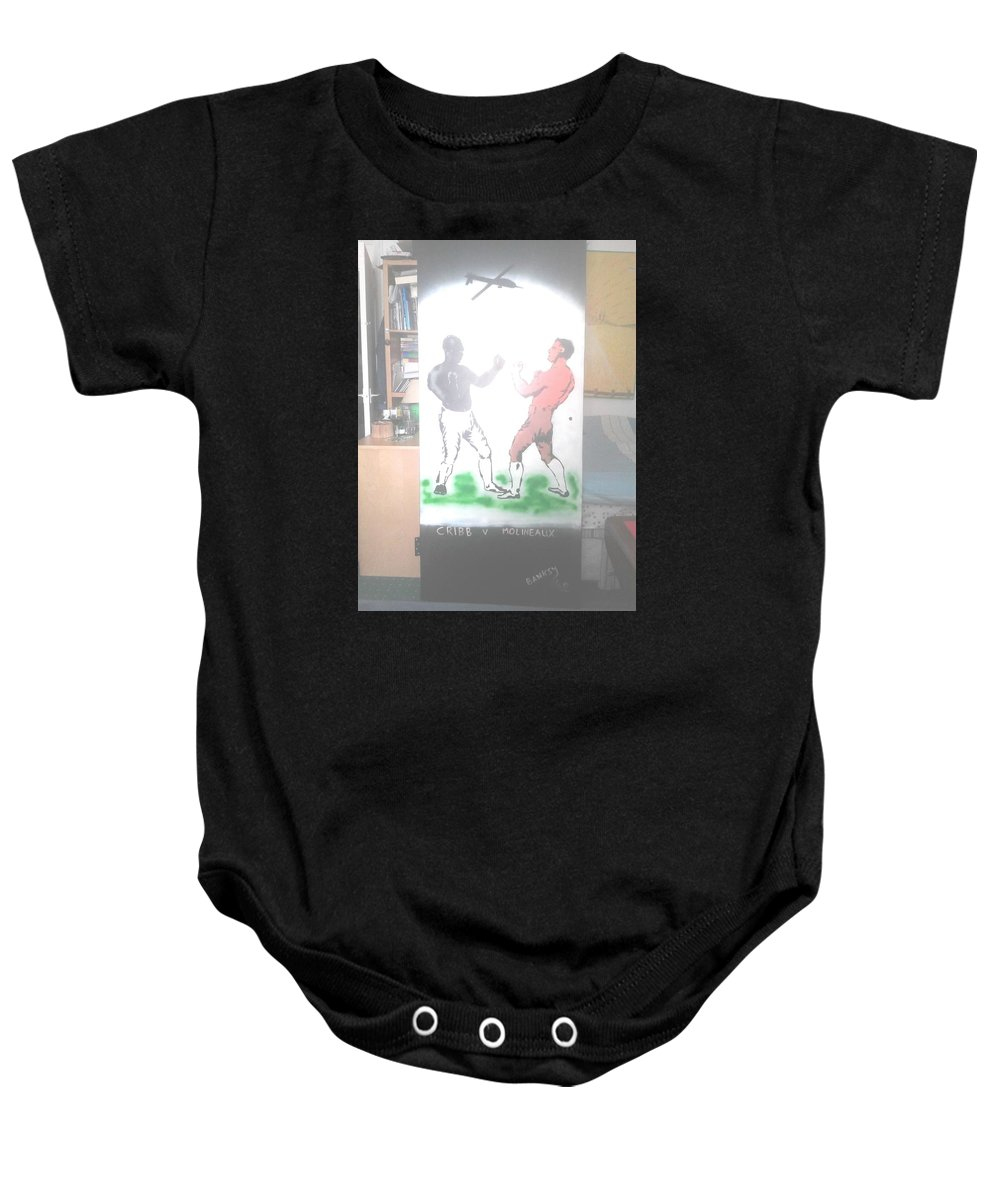 Urban Street Art Baby Onesie featuring the painting First Ever World Title Fight Cribb V Molineaux by MERLIN Vernon