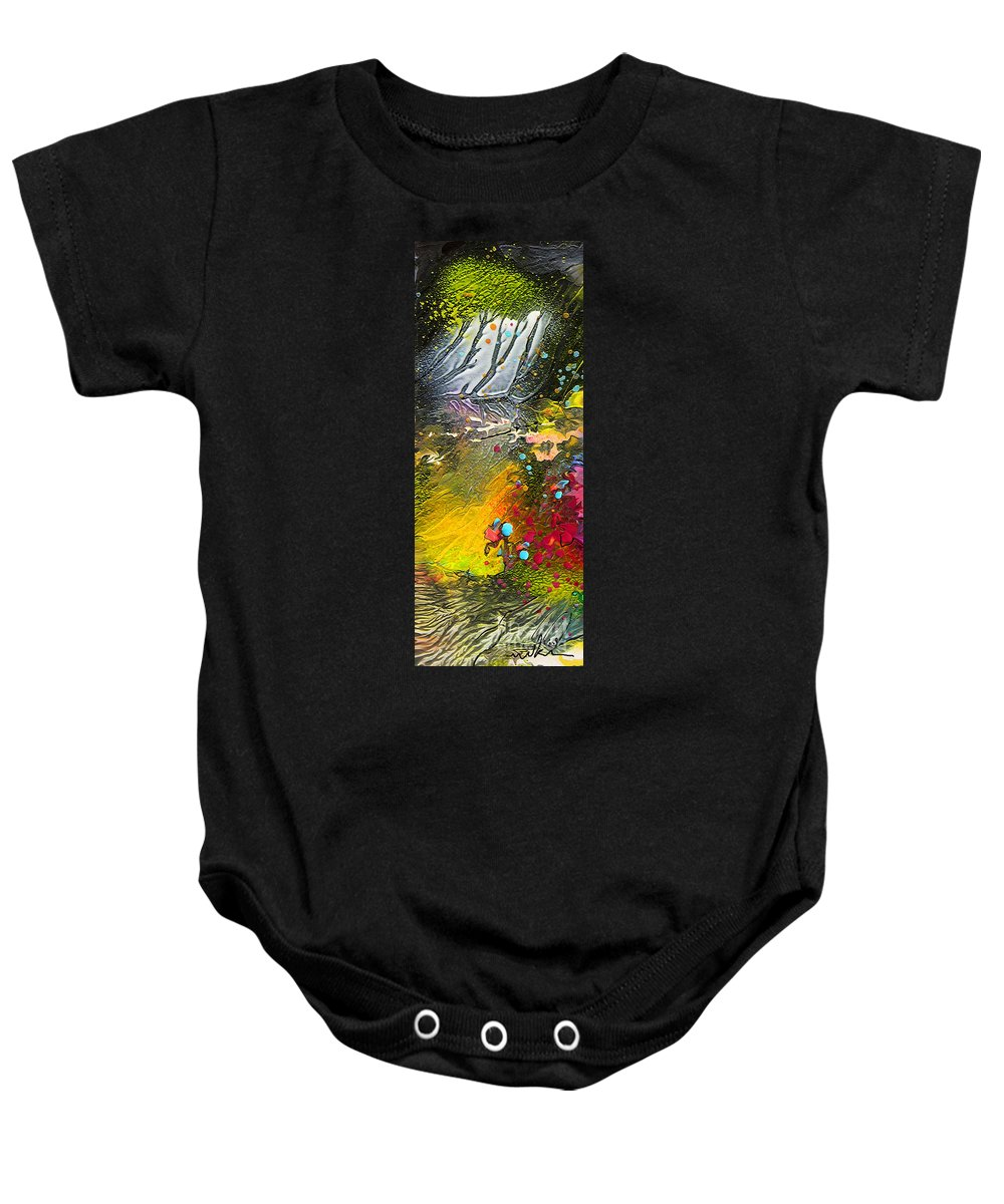 Miki Baby Onesie featuring the painting First Light by Miki De Goodaboom