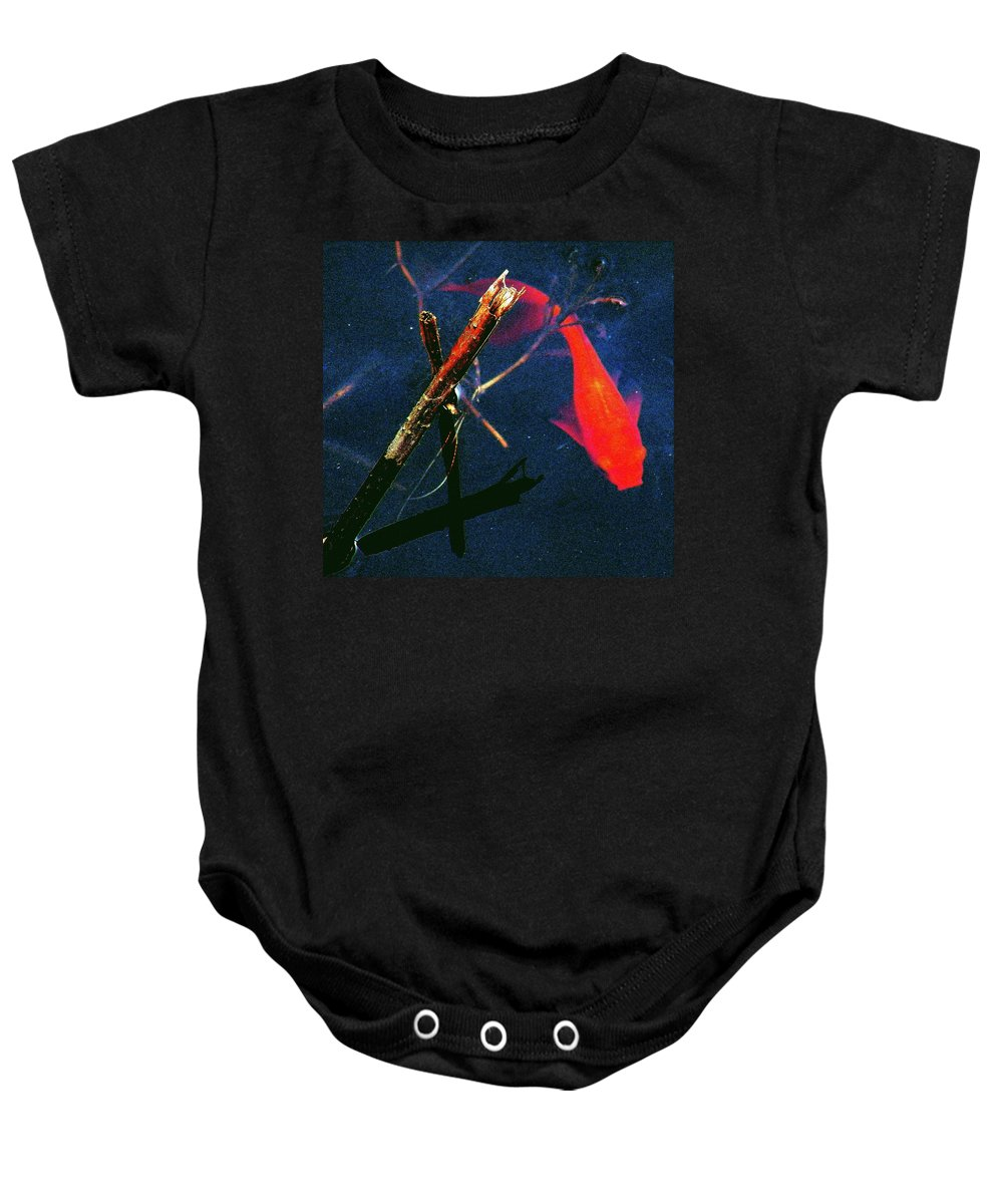 Goldfish Baby Onesie featuring the photograph Fish Bubble by Faith Williams