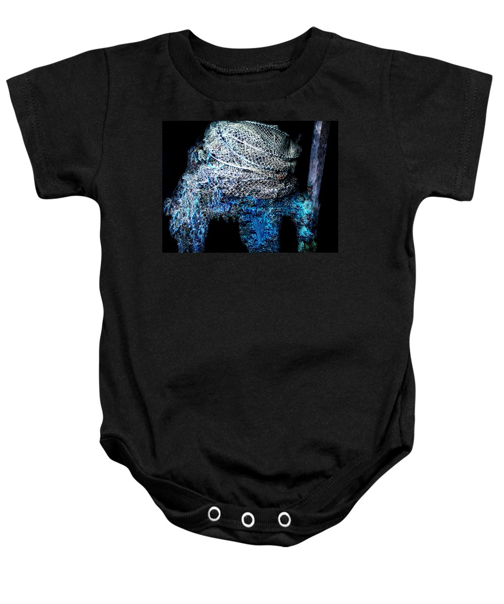 Colette Baby Onesie featuring the photograph Fish Net Santorini Island Greece by Colette V Hera Guggenheim