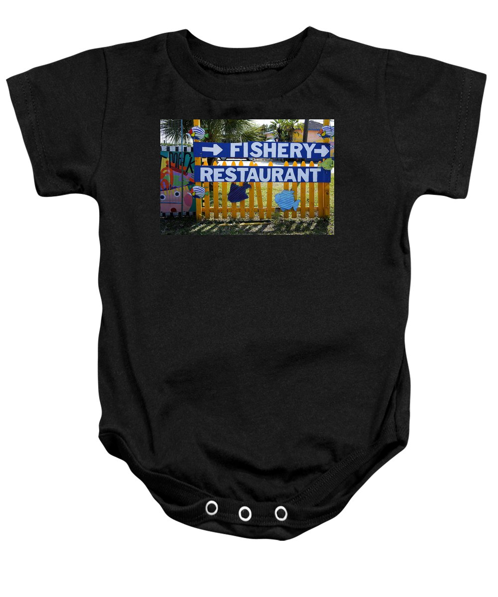Fishery Restaurant Baby Onesie featuring the photograph Fishery by Laurie Perry