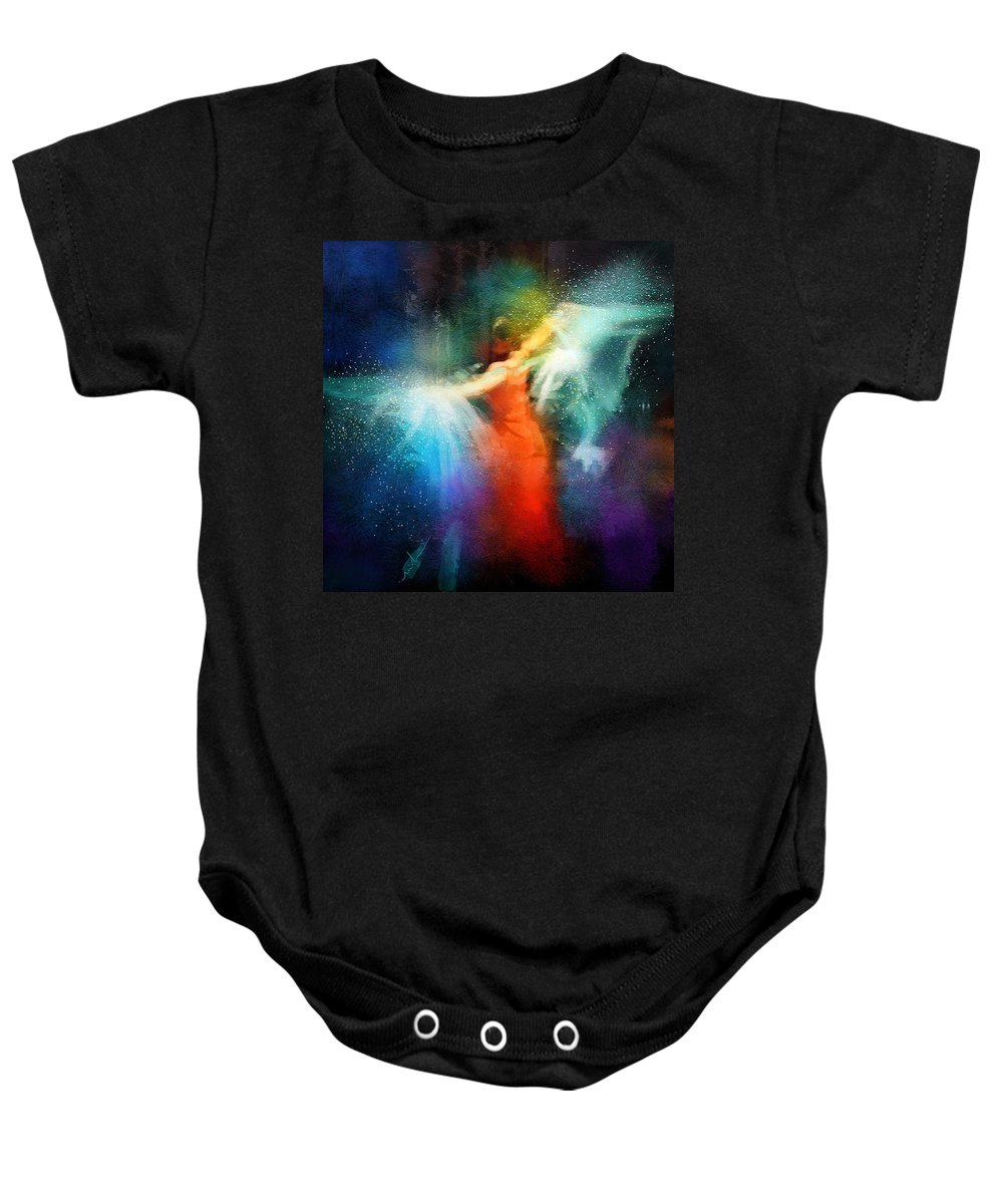 Flamenco Baby Onesie featuring the painting Flamencoscape 01 by Miki De Goodaboom