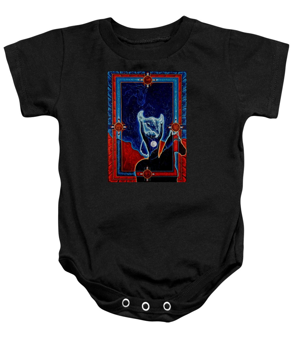 Native American Baby Onesie featuring the painting Flies Through The Sky by Kevin Chasing Wolf Hutchins