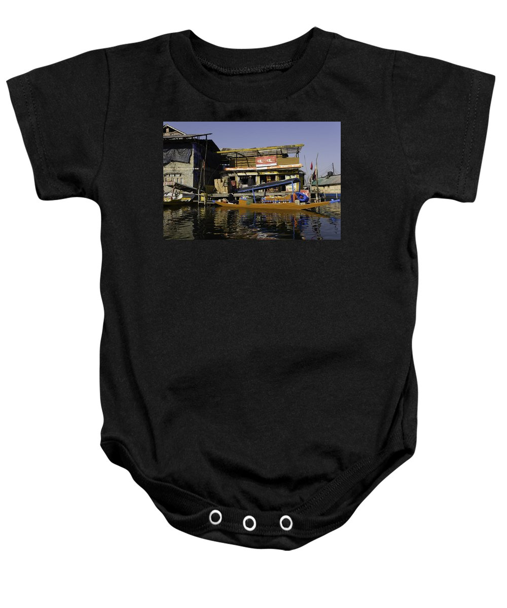 Action Baby Onesie featuring the photograph Floating Shop Along With Another Shop On Floats In The Dal Lake by Ashish Agarwal