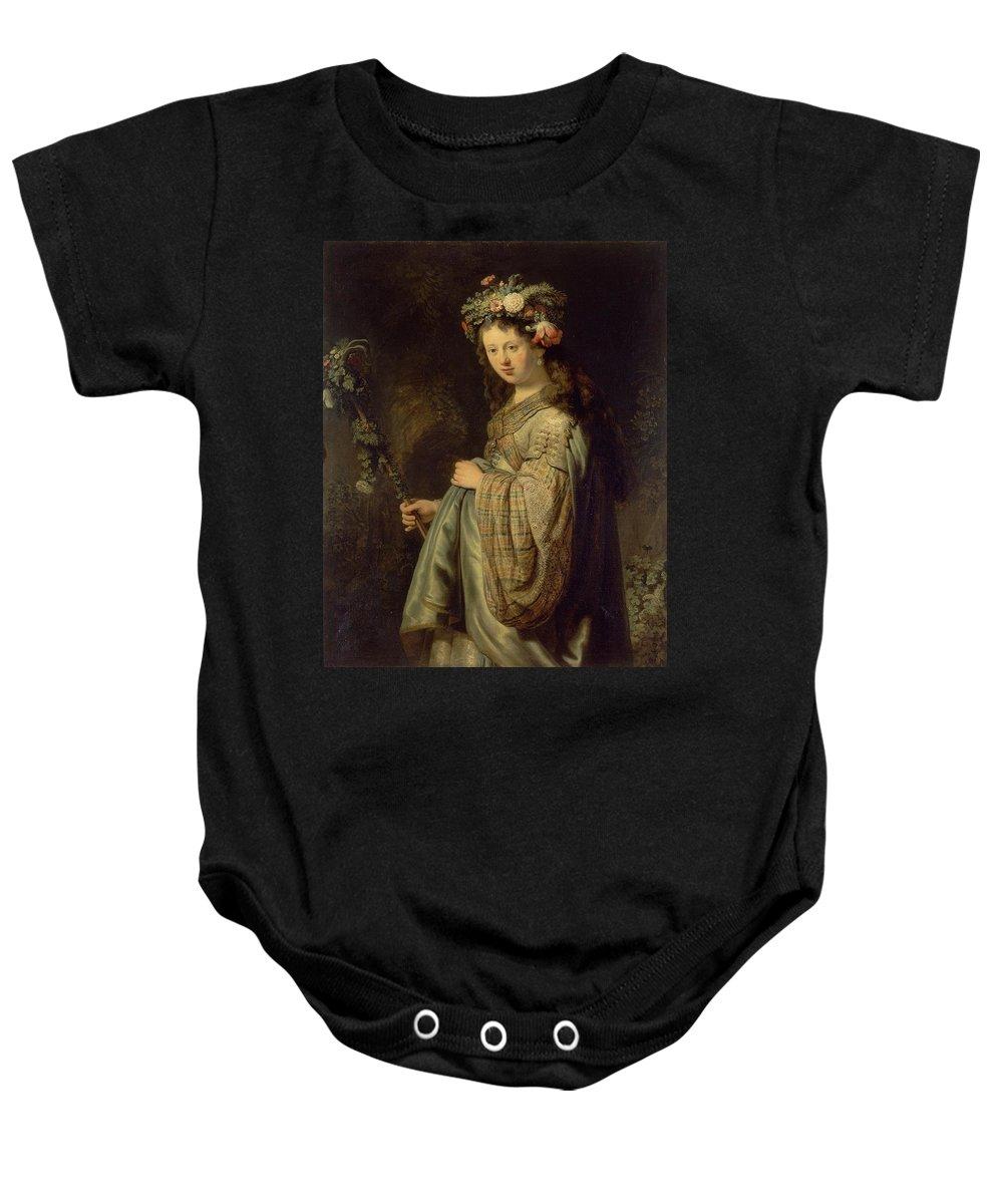 1634 Baby Onesie featuring the painting Flora by Rembrandt van Rijn