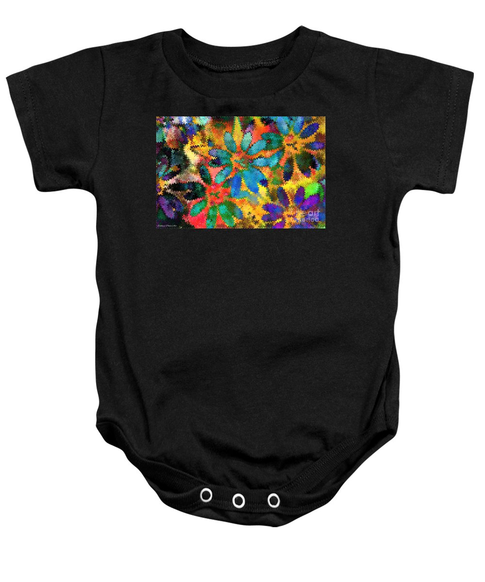 Abstract Baby Onesie featuring the mixed media Floral Abstract Photoart by Debbie Portwood