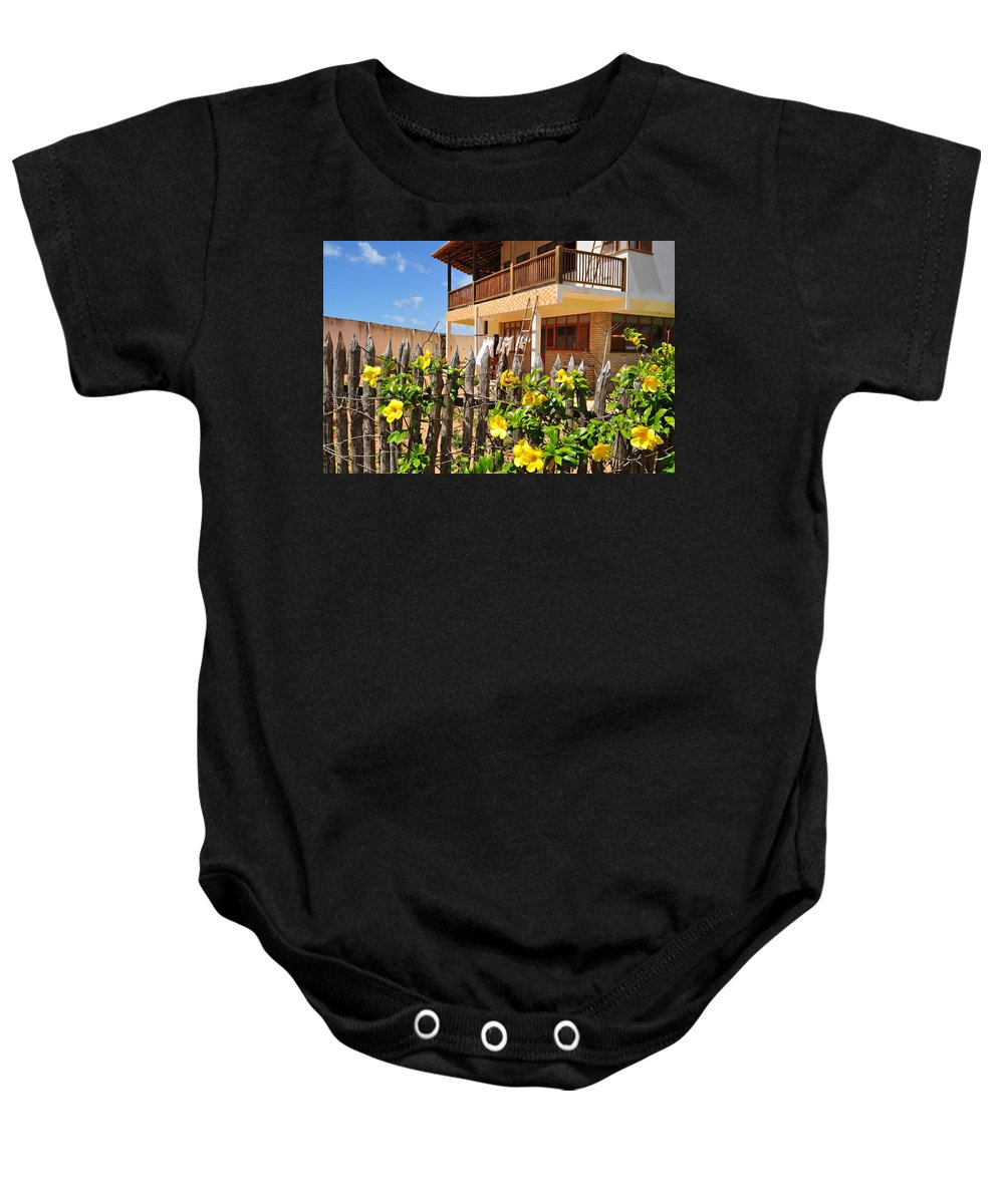 Flowers Baby Onesie featuring the photograph Flower Fence For A Beach Loft In Jeri by Karen Maxwell